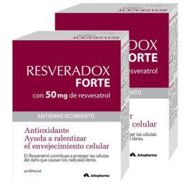 Duplo Resveradox Forte con 50mg de Resveratrol Antioxidante, 30+30 Cáps